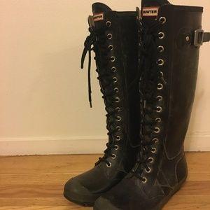 Hunter Gloss Watling Lace-Up Rain Boots Shoes